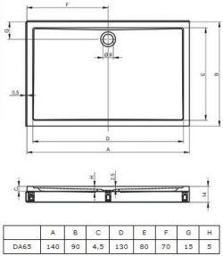 RIHO 257 - brodzik płaski 140 x 90 cm + nóżki i panel
