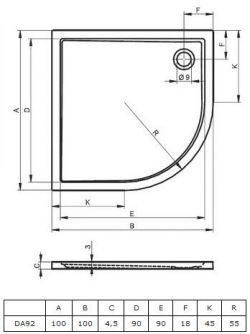 RIHO 284 - brodzik płaski  100 x 100 cm R=55 cm, montaż bezpośrednio na posadzce