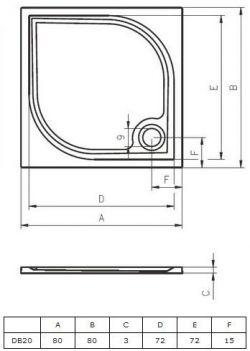 RIHO Kolping 80 x 80 - brodzik kwadratowy + syfon i nóżki