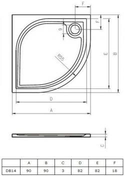 RIHO Kolping 90 x 90 cm - brodzik 1/4 koła + syfon i nóżki