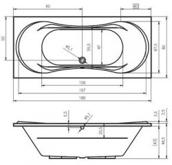 RIHO Supreme - wanna prostokątna 180 x 80 cm
