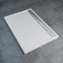 Sanswiss ILA WIA - brodzik prostokątny 90 x 100 cm, czarny granit, pokrywa srebrny połysk