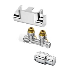 Zehnder komplet zaworowy DECK4 chrom z termostatem do grzejników